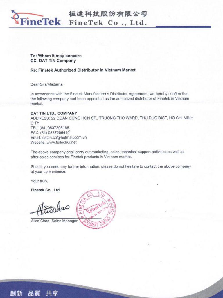 Giấy chứng nhận phân phối van giũ bụi FineTek của Đạt Tín